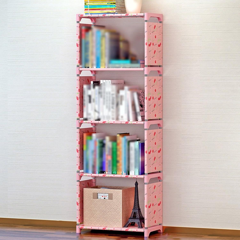 ZZHF yushizhiwujia Storage Racks Simple Bookshelf Reinforcement Bookcase Modern Minimalist Tabletop Shelf Freedom Combination Shelf (color   Lotus Pond Flowers, Size   64  42  26CM)