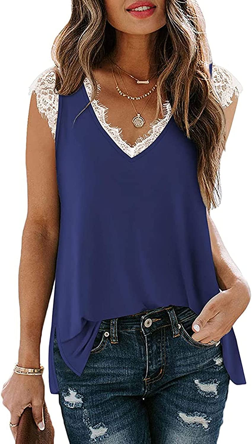 Linsery Women V Neck Tank Top Sleeveless Lace Trim Cami Casual Shirt Blouse