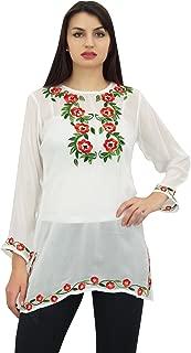 Phagun Women's Ethnic Style Aari Work Georgette Full Sleeve Casual Top