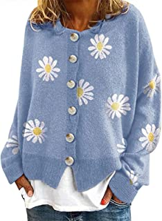 Suéter de punto floral para mujer con botones de cuello redondo y manga larga abierta suelta Outwear capa superior más tam...