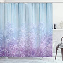 Ambesonne Floral Decorations Shower Curtain Set, Baby's Breath on Vintage Wood with Aqua Colors Bedding Plants Design Winter Themed, Bathroom Accessories, Polyester Fabric, 75 Inches Long, Blue Purple