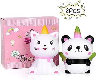 CREFUN Cat Panda Unicorn Squishy Pack 2R-SD0J-29MS (2019 New) Jumbo Slow Rising Cute Squishy Animals Gifts for Kid Stress Relief Toys Including 2Pcs Caticorn Pandacorn Squishies,5.5 Inch,Super Soft