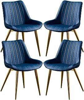 ZCXBHD Conjunto de 4 Sillas Comedor Clásico Cuero PU Patas de Metal Dorado Sillas de Comedor Cocina para Restaurante Hotel Sala reuniones Sillas (Color : Blue)