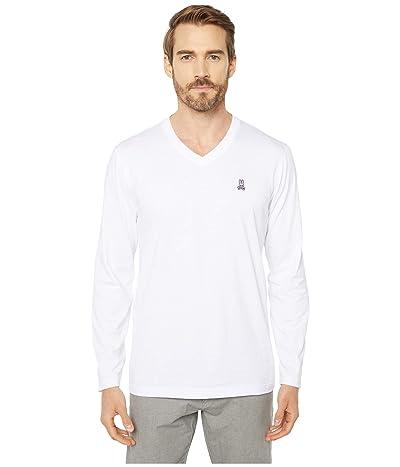 Psycho Bunny V-Neck Long Sleeve T-Shirt (White) Men