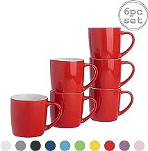 Rink Drink Argon Tableware Té Café - 6pc contemporáneo de Colores Tazas de cerámica Set - 350 ml - Rojo - Paquete de 6