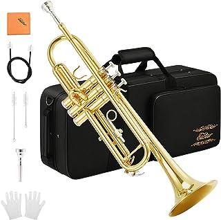 تی شرت طلایی Eastar Trass Brass ETR-380 Standard Bb Trumpet Set For Student Beginner with Hard Case، دستکش، دستگیره 7 سیل، روغن سوپاپ و کیت تمیز کردن لوله