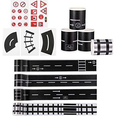 STOBOK 3pcs Road play tape sets diy traffic railway play stickers rolls tape toy car track for kids