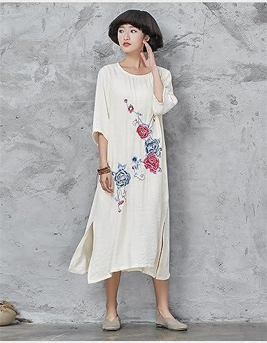 GAOXU la Nouvelle Robe de Coton modifié Robe brodée Cheongsam rétro