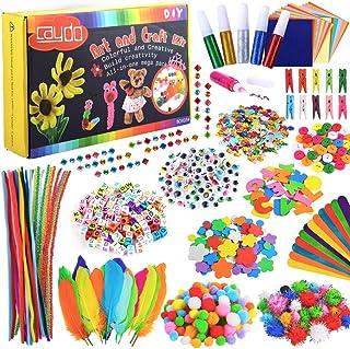 Caydo Box Pack Kids Arts and Crafts Kits - 1200 Pcs 19 Styles Kits colorés et créatifs comprenant des cure-pipes, des pomp...