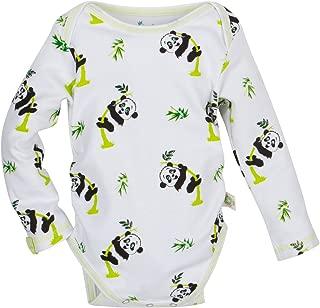 MiracleWear Long-Sleeve Patented Adjustable Snap-N-Grow 100% Cotton Bodysuit by Miracle Blanket (6-12 Month, Panda)