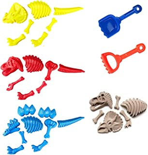 Liberty Imports 3 Pack Large Dinosaur Fossil Sand Molds Beach Toy Set for Kids with Rake and Shovel (25pc Playset)