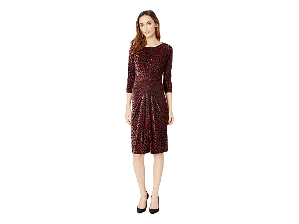 Taylor Animal Print Velvet Burnout Dress (Wine/Black) Women