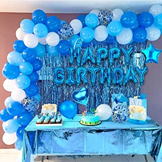 Birthday Party Decoration set, Blue Theme Party Set, Party supplies kit, Confetti, Tablecloth ,latex balloons, Ribbons, De...