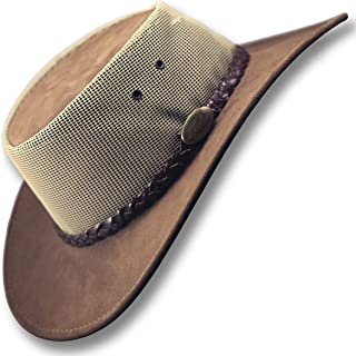 Oztrala~ Leather Suede Breezer Mesh Hat JACARU Cowboy Australian Mens Womens Kids Akubra Outback Aussie Golf Black Brown SB 1019 A