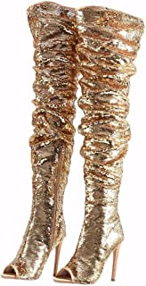 103ad6bcaae6 Women's Fashion Peep Toe Sparkle Sequins Thigh High Over Knee Pupms Heel  Christmas Party Dance Boots