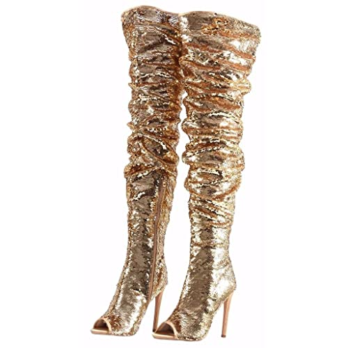 df1303d2ecee CAMSSOO Women s Fashion Peep Toe Sparkle Sequins Thigh High Over Knee Pupms  Heel Christmas Party Dance