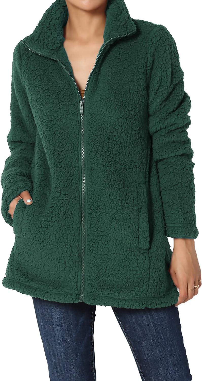 TheMogan S~3X High Neck Zip Up Soft Short Teddy Jacket Fuzzy Slim Fit Coat