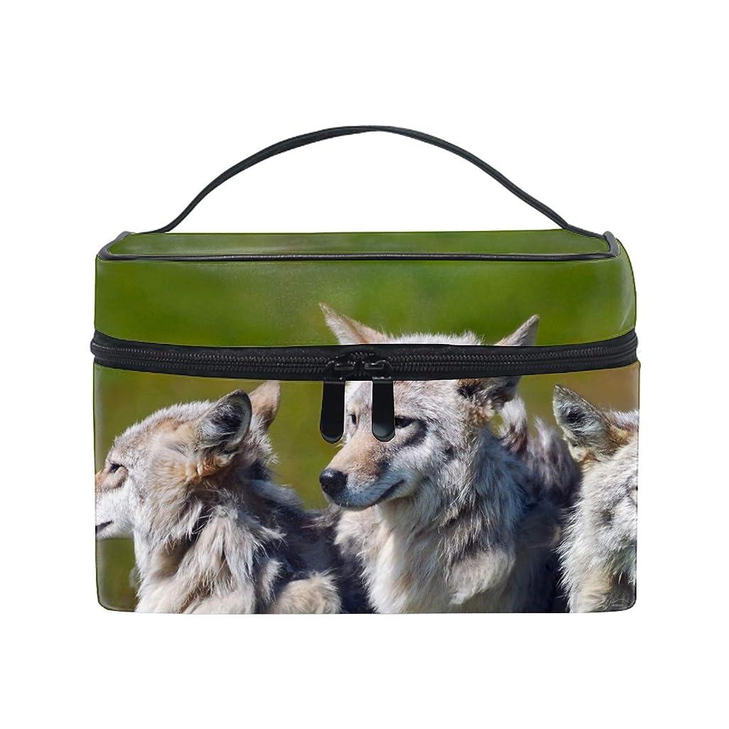 リブ安定した追い越す動物のオオカミトイレタリーバッグ トラベルポーチ 洗面用具入れ 化粧ポーチ バスルームポーチ マジックテープ フック付き