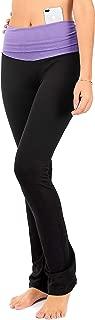Bootcut Fold Over Leggings for Women   Slim Look Bootleg Yoga Pants w Pocket + Plus Size (C5 F)