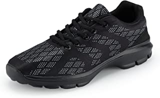 Men's Lightweight Breathable Running Tennis Sneakers Casual Walking Shoes Black Size: 9.5