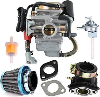 150cc Carburetor for GY6 125cc 150cc Scooters Go Karts ATV Moped Scooter Dune Buggy 152QMJ 157QMI 4 Stroke Engine Electric Choke carb with Air Filter Intake Manifold Fuel Gas Tank Petcock Kit
