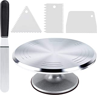 Cake Stand, Ohuhu Aluminium Revolving Cake Turntable 12'' Rotating Cake Decorating Stand with Angled Icing Spatula and Com...