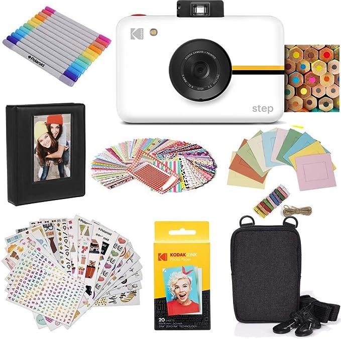 - KODAK Step Digital Instant Camera with 10MP Image Sensor, ZINK Zero Ink Technology (White) Gift Bundle