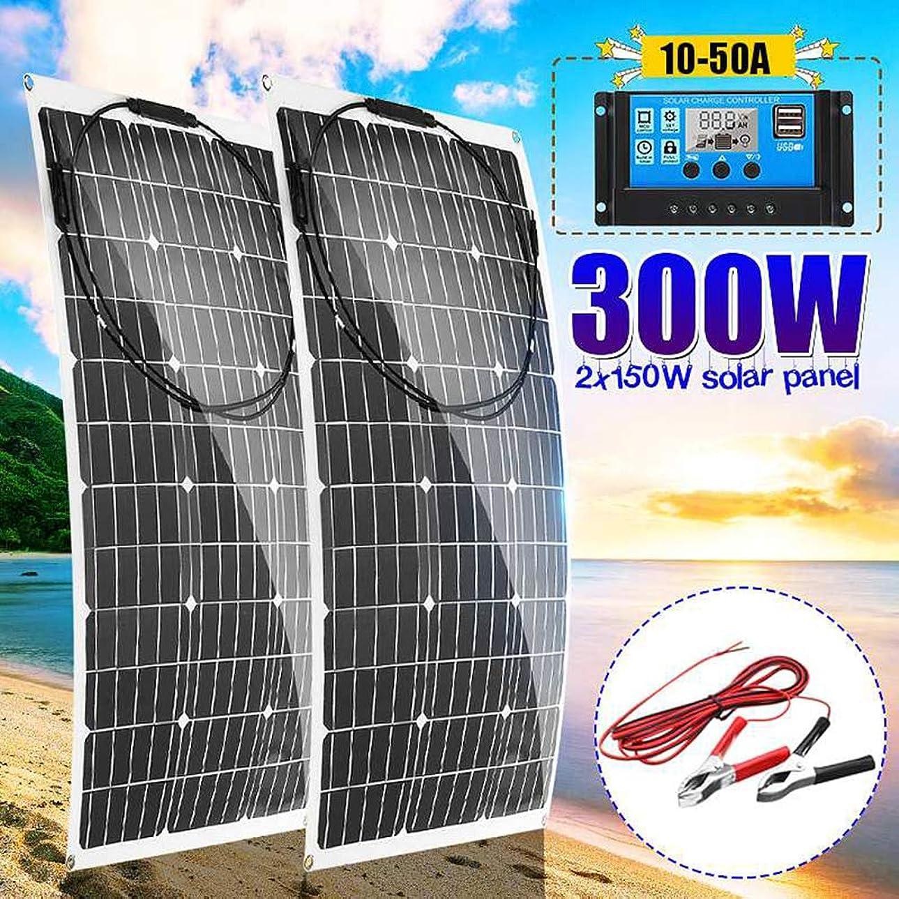 観客真っ逆さま散逸300ワット18ボルト柔軟なソーラーパネルキット2個150W柔軟なソーラーパネルコネクタ付き+ LCDソーラー充電コントローラ+ 16Ftソーラーケーブル