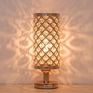 HAITRAL Gold Crystal Table Lamp - Vintage Nightstand Gold Lamp with Clear Crystal Beads Lampshade Metal Base Stylish Decorative Lamps for Bedroom, Living Room, Dresser, Nightstand (BD017G)
