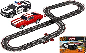 Carrera GO!!! On The Run 1:43 Scale Electric Slot Car Race Track Set Ford Mustang Vs Chevy Camaro