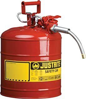 Justrite 7250120 AccuFlow 5 Gallon, 11.75 in OD x 17.50 in H Galvanized Steel Type II Red Safety Can with 5/8 in Flexible Spout