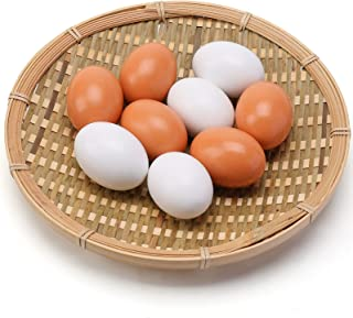 Easter Eggs Wooden Fake Eggs 9 Pieces 2 Colors
