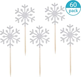 Hapy Shop 60 Pack Snowflake Cupcake Toppers Glitter Snowflake Cake Toppers Picks for Christmas Birthday Party Baby Shower Wedding Cake Decoration(Silver)
