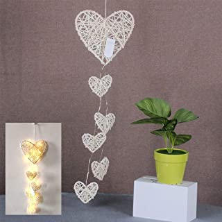 KCPer Wooden Rattan Heart-shaped Wind Chime Room Hanging Night Light Charm Decor, Wind Mobile Portable Waterproof Outdoor Decorative Romantic Wind Bell Light for Patio Yard Garden Home