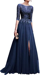 Applique Tulle 3/4 Sleeves Long Prom Dresses 2019 for Women