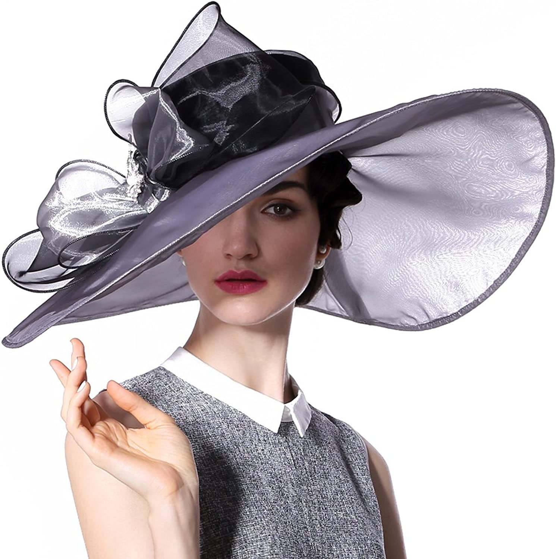June's Young Summer Hats Organza Hat 100% Organza Wide Brim Sun Hat Wedding Wear