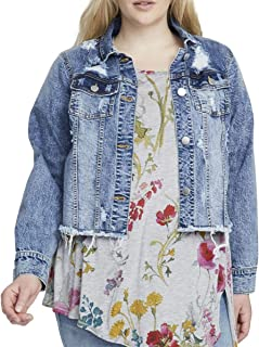 Women's Plus Size Curvy Crop Destructed Denim Jacket