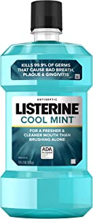 Listerine Cool Mint Antiseptic Mouthwash to Kill 99% of Germs that Cause Bad Breath - Plaque and Gingivitis - Cool Mint Fl...