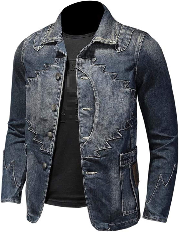 Mens Denim Blazer Jacket Fashion Cotton Vintage Suit Outerwear Casual Slim Fit Jeans Blazers Blue Patch Coat