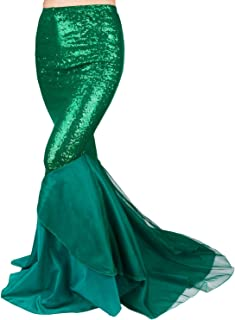 Women's Mermaid Tail Halloween Costumes Party Shiny Sequins Long Skirt Green Medium