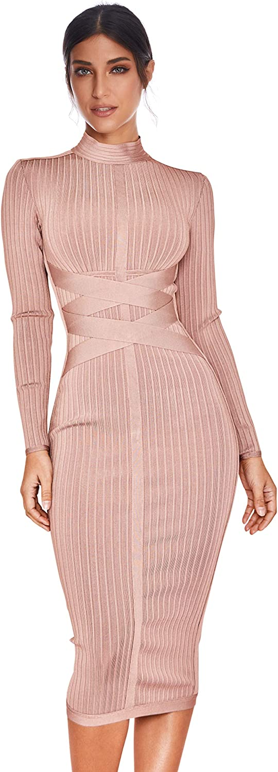 Women's Rayon Long Sleeves Special Campaign Bandage Cross specialty shop Ribbed Strap Club Dress