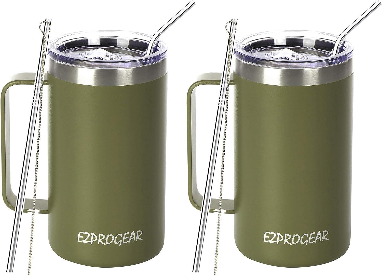 High quality new Ezprogear 24 oz Ranking TOP14 2 Pack Stainless Mug Green Coffee Ca Olive Steel