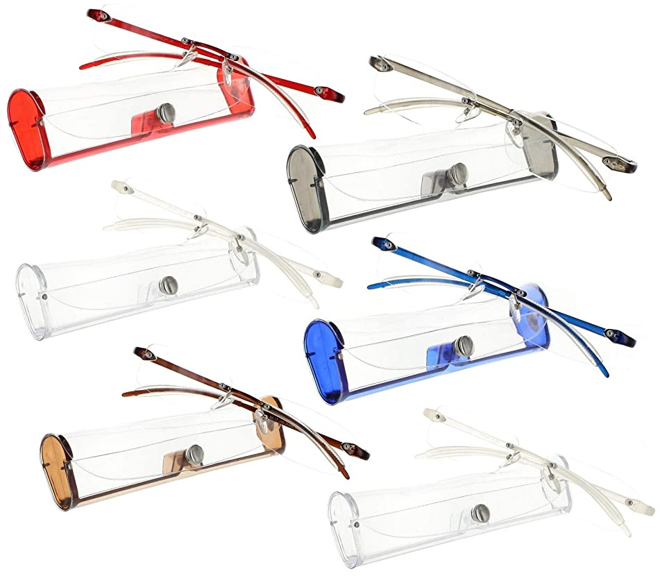 Reading Glasses 1.75 | 6 Pack Flexible Rimless Readers with Case for Men and Women [6 Pack, 1.75]