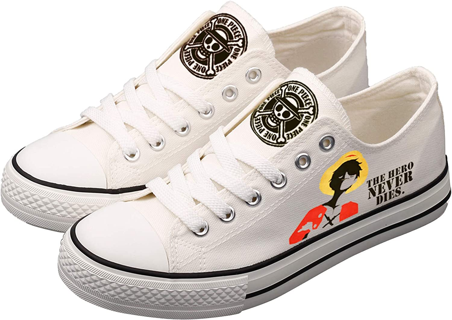 BEGOOTION Hand-Painted Canvas shoes Printing Cosplay Canvas shoes ONE Piece Unisex Designs Casual Low Cut Sneakers