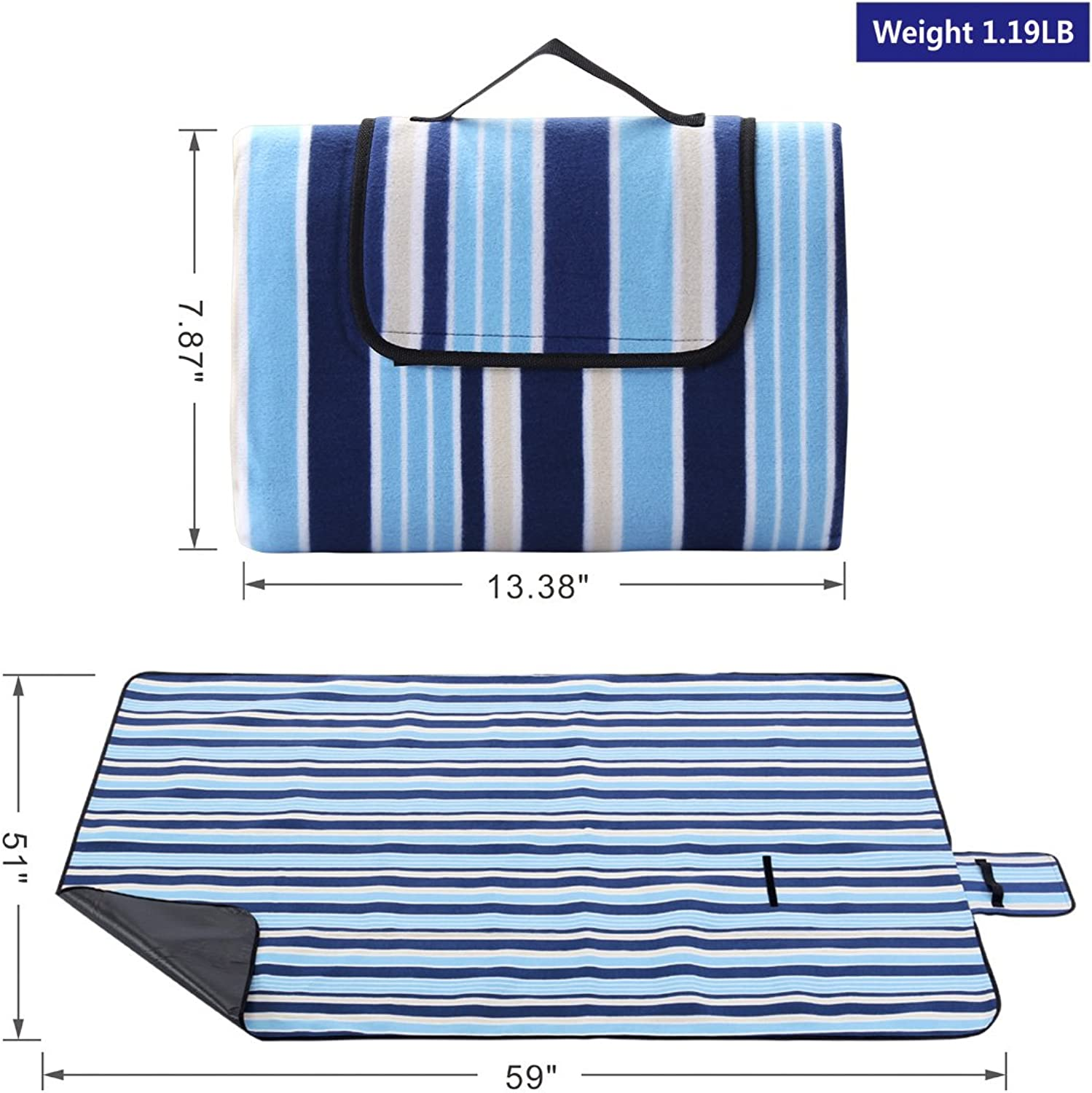 4f79b9162b28a Portable Outdoor Picnic Blanket (59 x 51 59 x 79 blueee Stripe Red ...