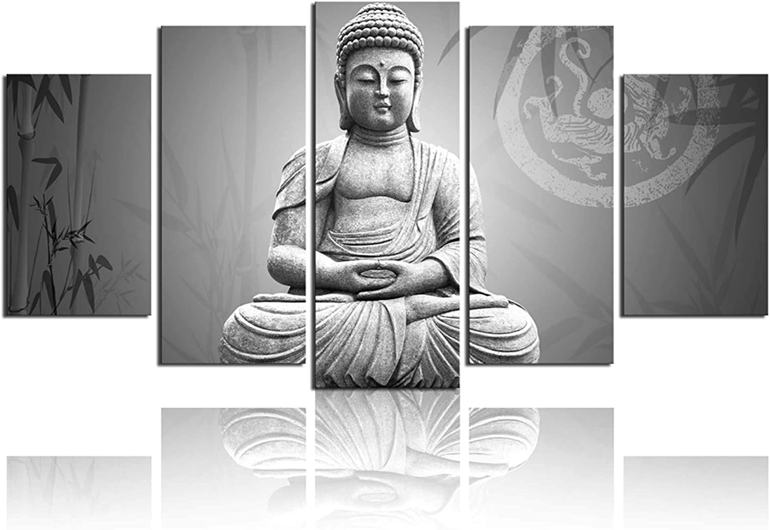 ARTLAND Modern Landscape Black and White Buddha Print on Canvas Wall Art Decor with Frame