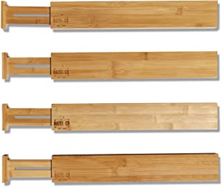 Bamboo Drawer Dividers Kitchen Organizer by Hazel Co - Set of 4 Adjustable Expandable Desk Bathroom Drawers Organizers - Create Built in Storage in Your Wood Cabinet with Our Eco Friendly Divider