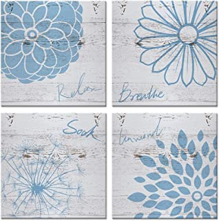 iHAPPYWALL 4 Pieces Blue Flower Bathroom Wall Decor Relax Breathe Soak Unwind Sign with Flora Dandelion Picture On Wood Background Rustic Modern Decor Stretched and Framed Ready to Hang