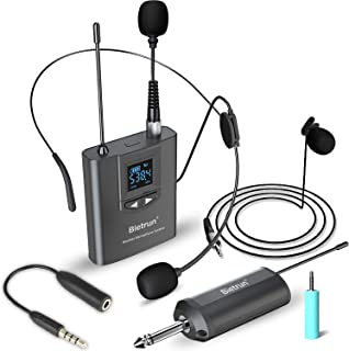 "Wireless Lavalier Lapel Microphone, Headset Mic, UHF Rechargeable Wireless Microphone System, 165 ft Range, 1/4"" Output, for iPhone, Android Phone, Ipad, DSLR Camera, YouTube Video Recording, ASMR"