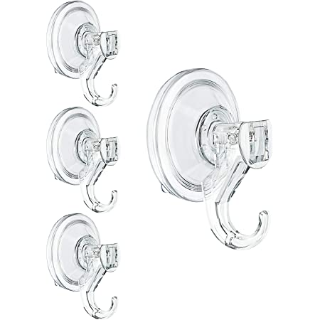 Suction Hooks,WOVTE 4 Packs Powerful Push and Lock Vacuum Multi-Purpose Suction Hanger Heavy Duty Max Holding 3KG for Bathroom,Kitchen Hanging Suction